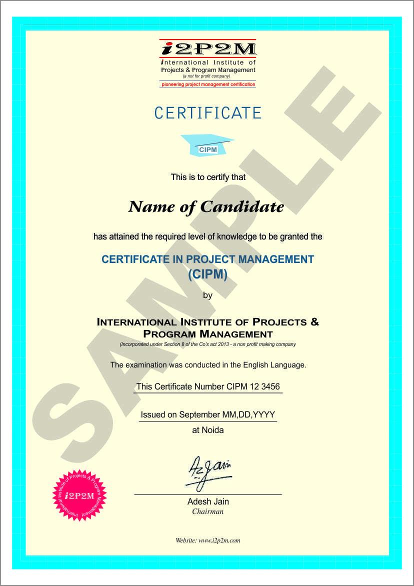 Cipm certification i2p2m cipm sample certificate xflitez Choice Image